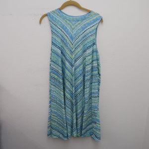 Sonoma Blue Sleeveless Boat neck Striped Dress